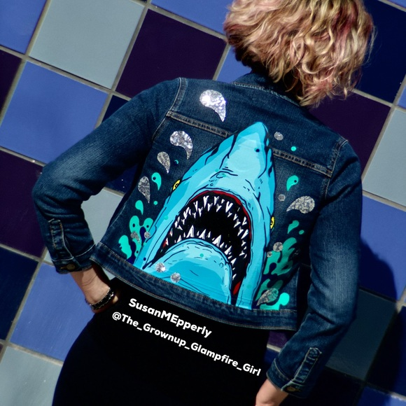 Jackets & Blazers - 🦈SOLD🦈 JAWSome Hand Crafted Upcycled  Jacket